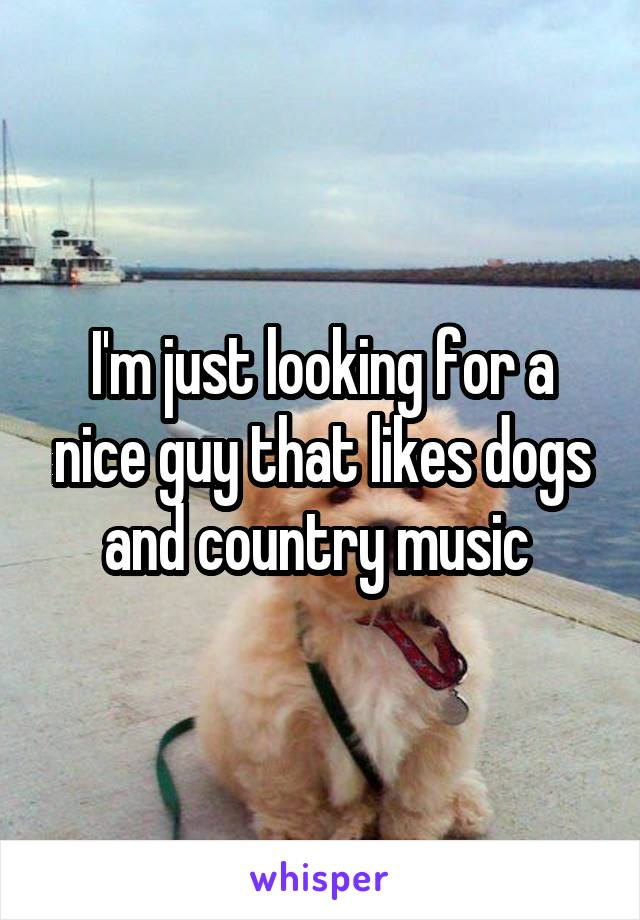 I'm just looking for a nice guy that likes dogs and country music