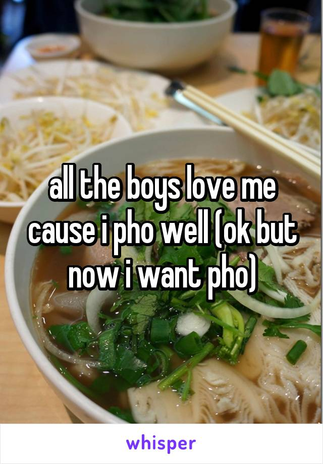 all the boys love me cause i pho well (ok but now i want pho)