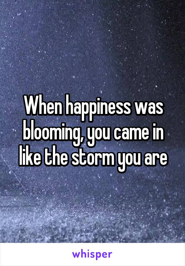 When happiness was blooming, you came in like the storm you are