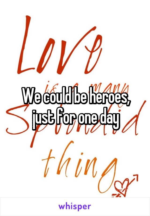 We could be heroes, just for one day