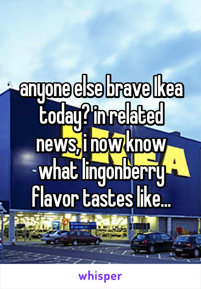 anyone else brave Ikea today? in related news, i now know what lingonberry flavor tastes like...