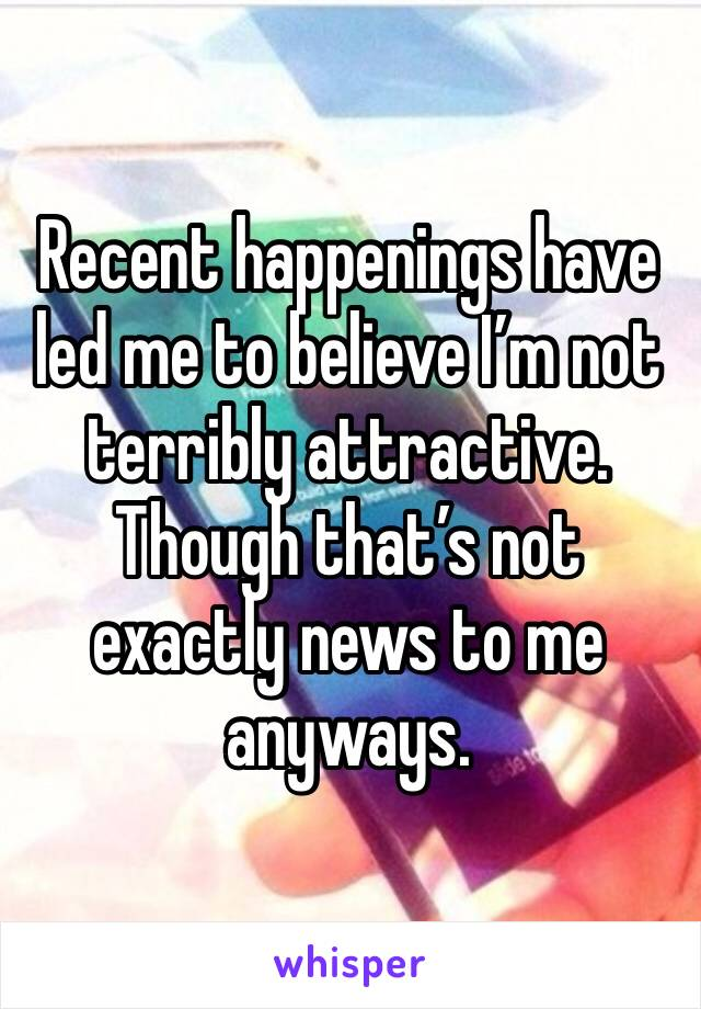 Recent happenings have led me to believe I'm not terribly attractive. Though that's not exactly news to me anyways.