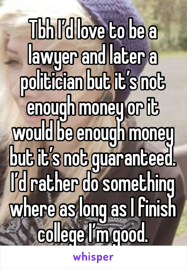 Tbh I'd love to be a lawyer and later a politician but it's not enough money or it would be enough money but it's not guaranteed. I'd rather do something where as long as I finish college I'm good.