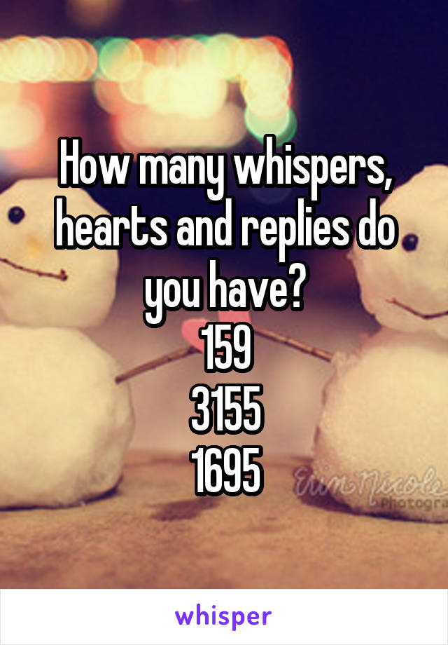 How many whispers, hearts and replies do you have? 159 3155 1695