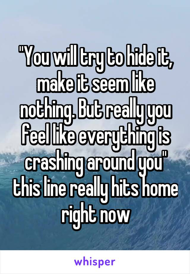 """""""You will try to hide it, make it seem like nothing. But really you feel like everything is crashing around you"""" this line really hits home right now"""