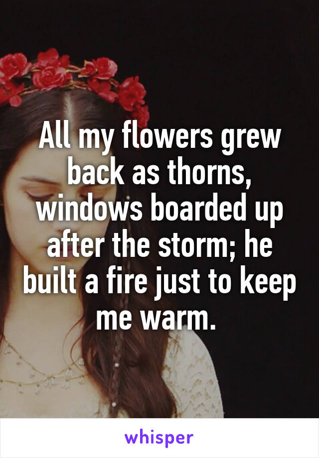 All my flowers grew back as thorns, windows boarded up after the storm; he built a fire just to keep me warm.