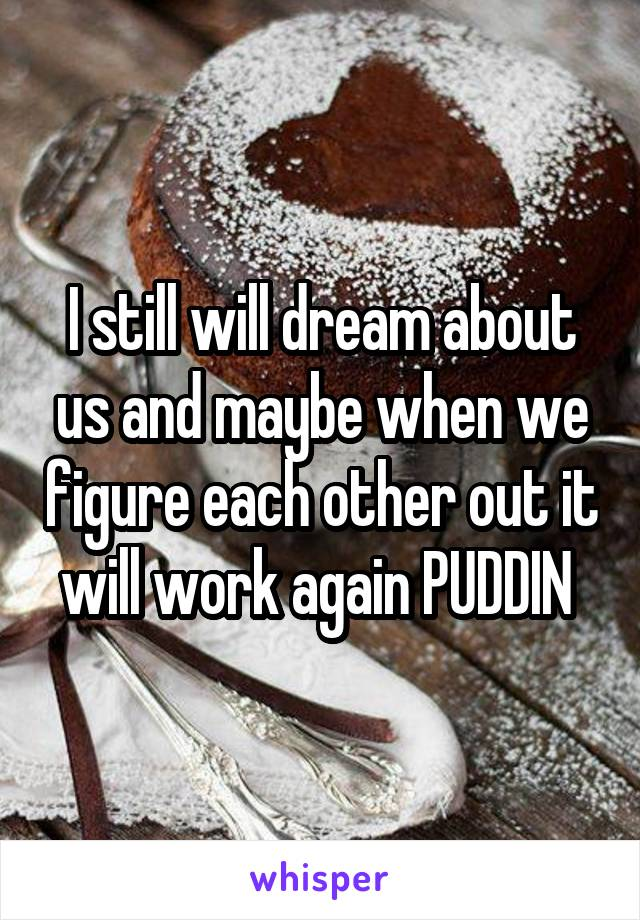 I still will dream about us and maybe when we figure each other out it will work again PUDDIN