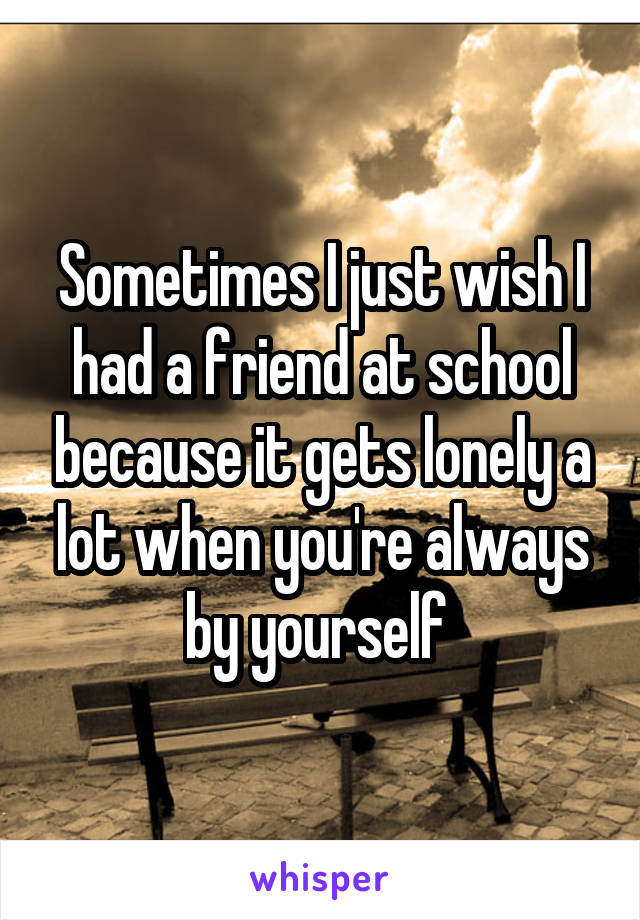Sometimes I just wish I had a friend at school because it gets lonely a lot when you're always by yourself