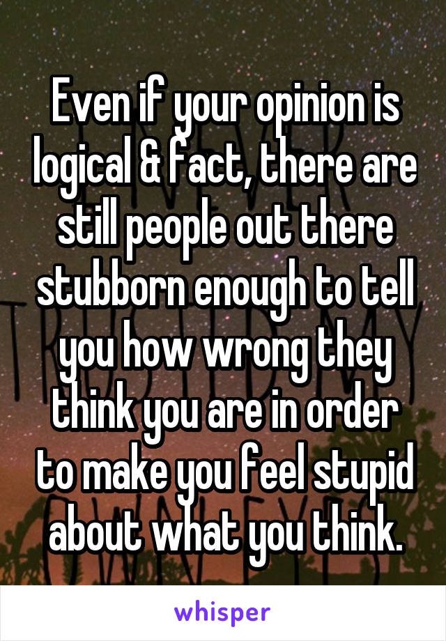 Even if your opinion is logical & fact, there are still people out there stubborn enough to tell you how wrong they think you are in order to make you feel stupid about what you think.