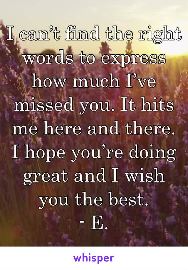 I can't find the right words to express how much I've missed you. It hits me here and there. I hope you're doing great and I wish you the best.  - E.