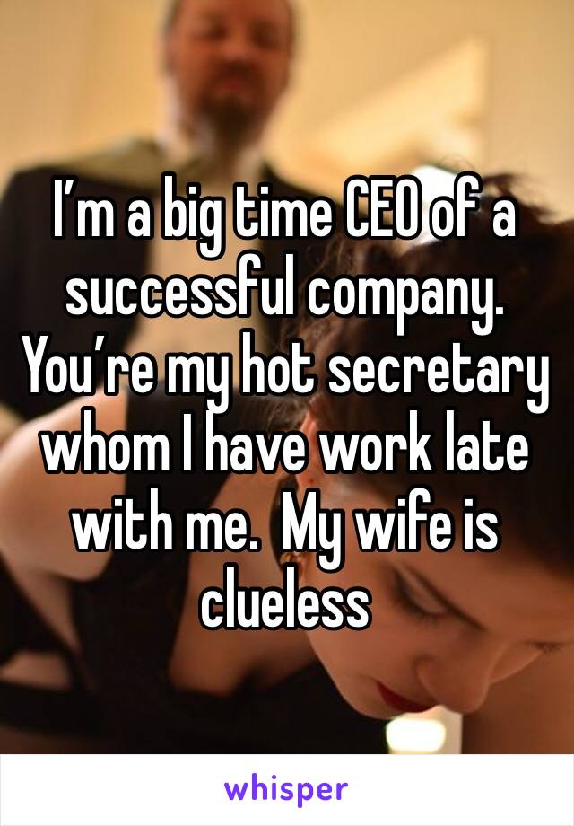 I'm a big time CEO of a successful company.  You're my hot secretary whom I have work late with me.  My wife is clueless