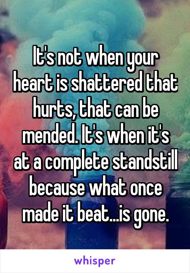It's not when your heart is shattered that hurts, that can be mended. It's when it's at a complete standstill because what once made it beat...is gone.