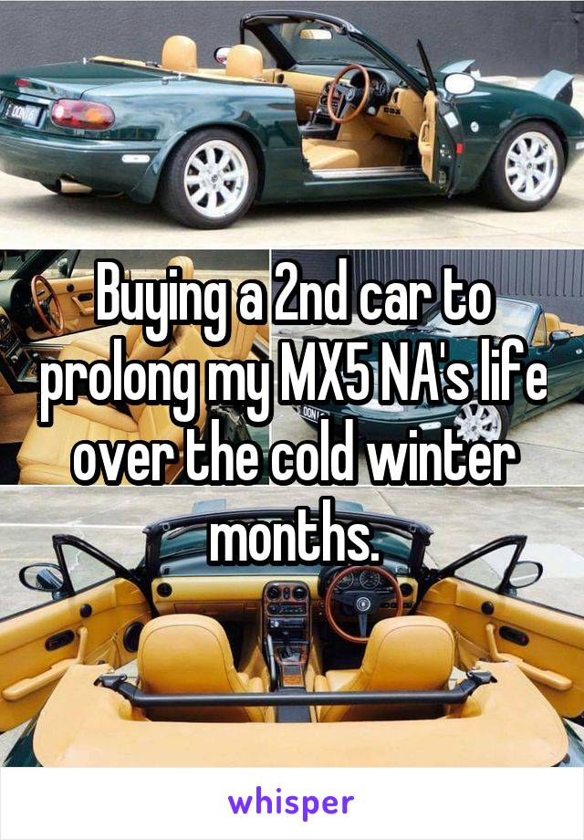 Buying a 2nd car to prolong my MX5 NA's life over the cold winter months.