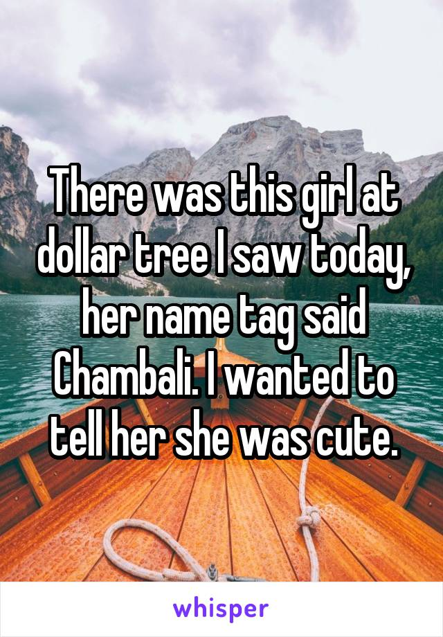 There was this girl at dollar tree I saw today, her name tag said Chambali. I wanted to tell her she was cute.