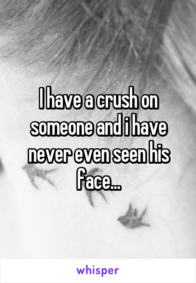 I have a crush on someone and i have never even seen his face...