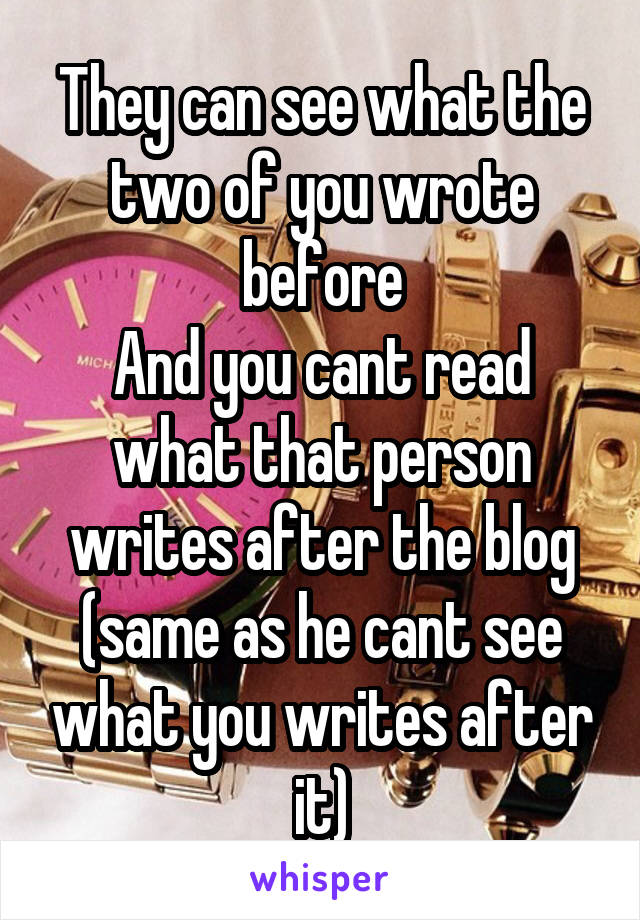 They can see what the two of you wrote before And you cant read what that person writes after the blog (same as he cant see what you writes after it)