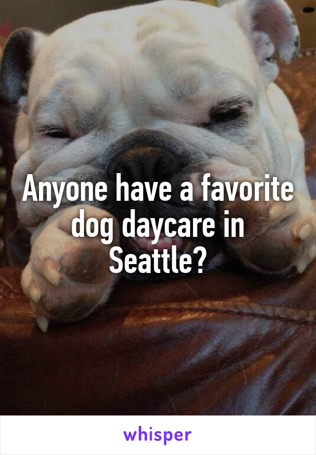 Anyone have a favorite dog daycare in Seattle?