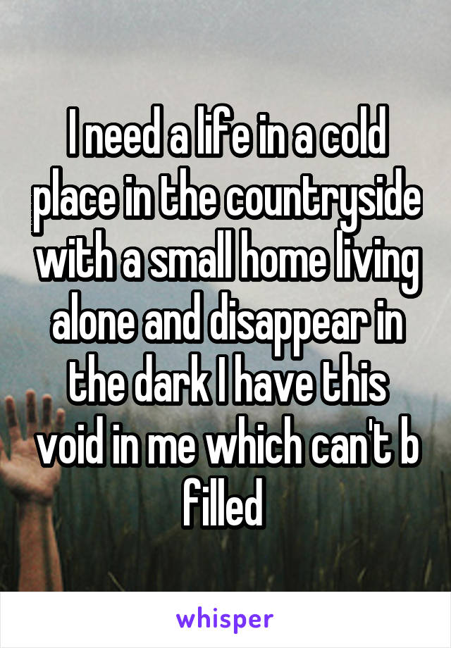 I need a life in a cold place in the countryside with a small home living alone and disappear in the dark I have this void in me which can't b filled