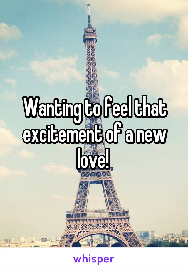 Wanting to feel that excitement of a new love!