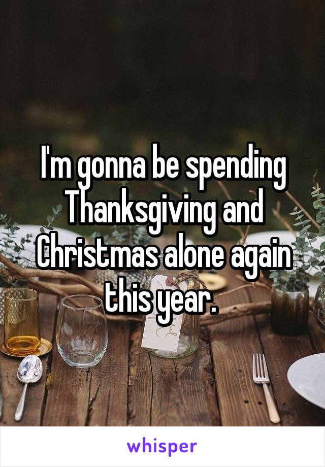 I'm gonna be spending Thanksgiving and Christmas alone again this year.