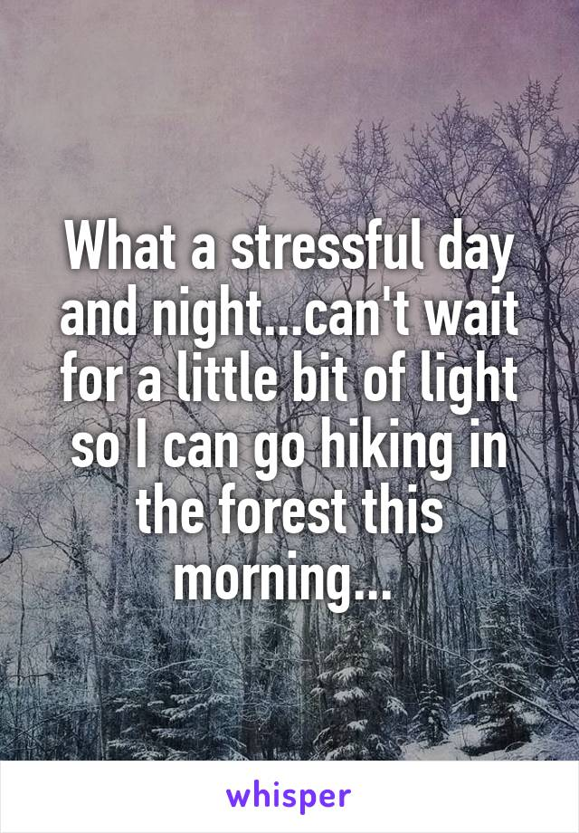 What a stressful day and night...can't wait for a little bit of light so I can go hiking in the forest this morning...