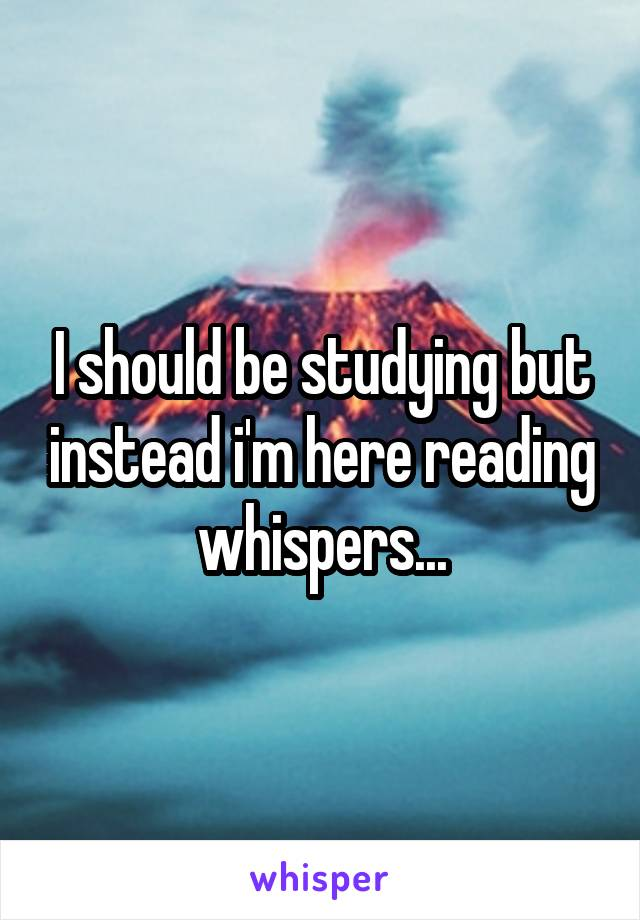 I should be studying but instead i'm here reading whispers...