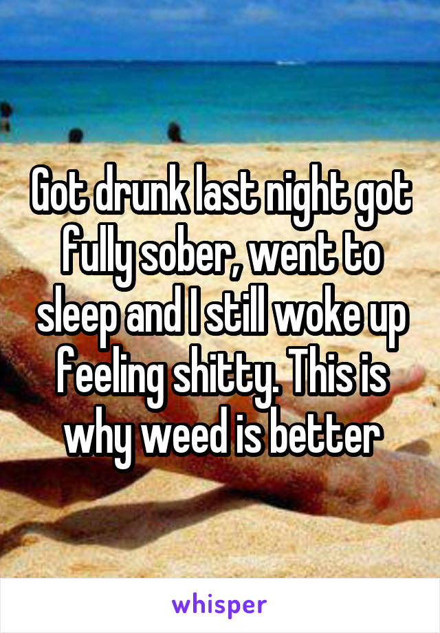 Got drunk last night got fully sober, went to sleep and I still woke up feeling shitty. This is why weed is better
