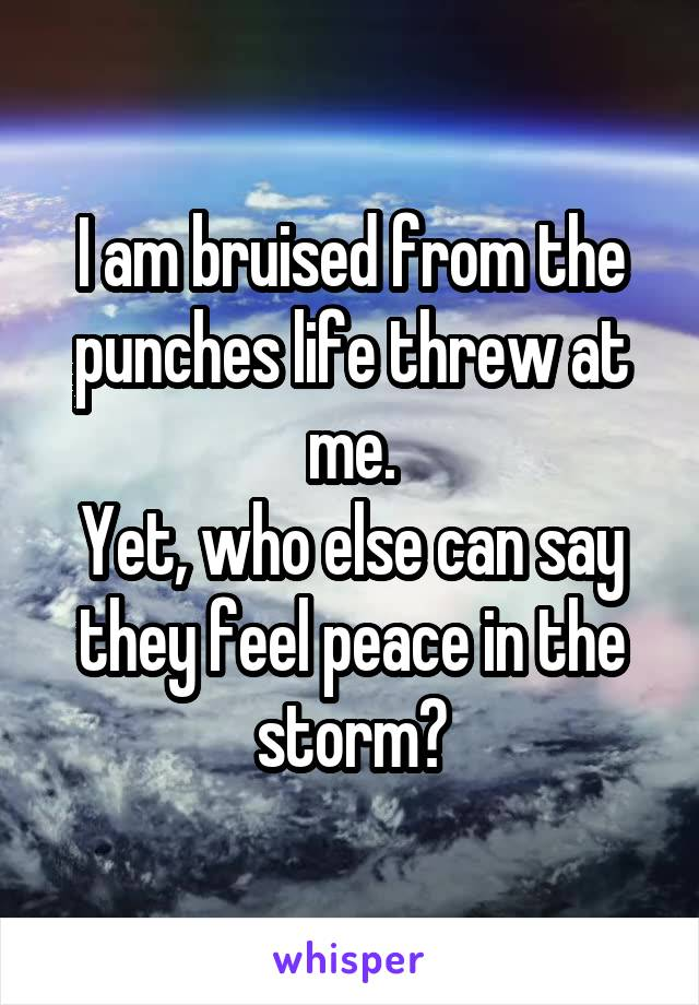 I am bruised from the punches life threw at me. Yet, who else can say they feel peace in the storm?