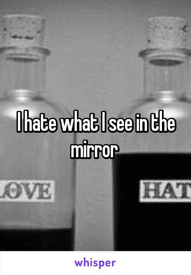 I hate what I see in the mirror