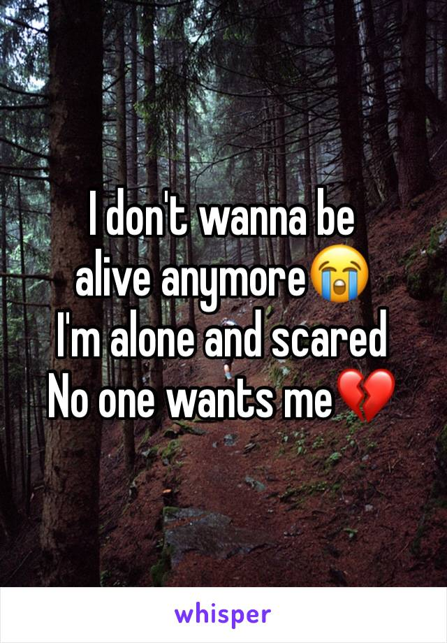 I don't wanna be alive anymore😭 I'm alone and scared  No one wants me💔