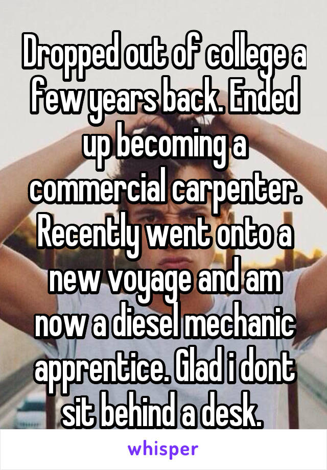Dropped out of college a few years back. Ended up becoming a commercial carpenter. Recently went onto a new voyage and am now a diesel mechanic apprentice. Glad i dont sit behind a desk.