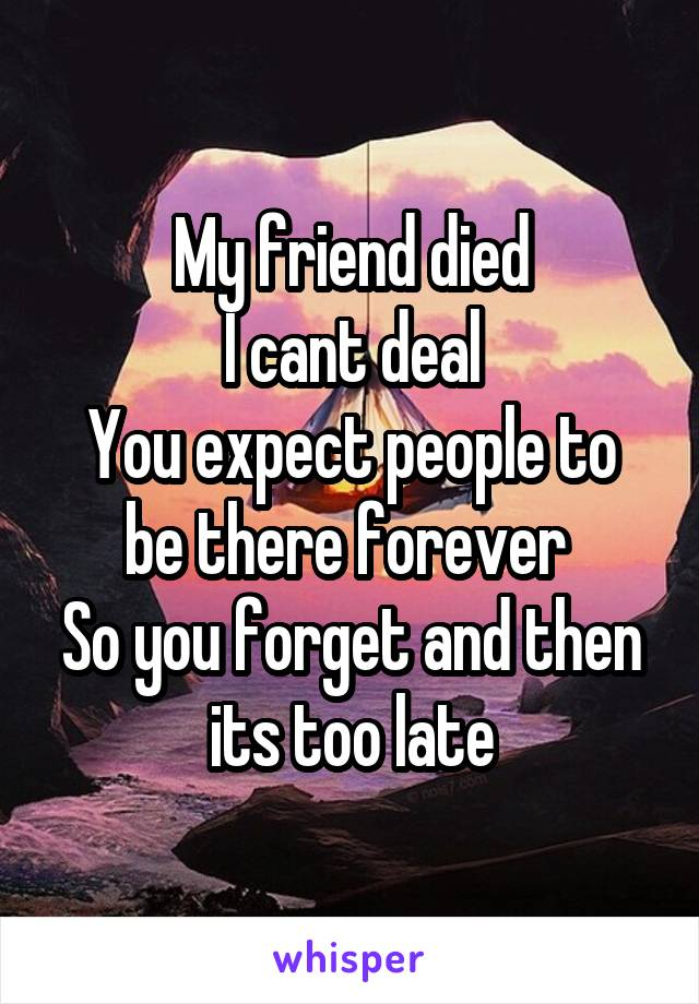 My friend died I cant deal You expect people to be there forever  So you forget and then its too late