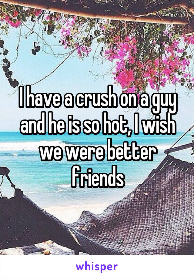 I have a crush on a guy and he is so hot, I wish we were better friends