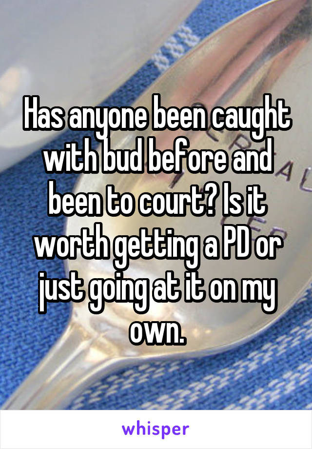Has anyone been caught with bud before and been to court? Is it worth getting a PD or just going at it on my own.