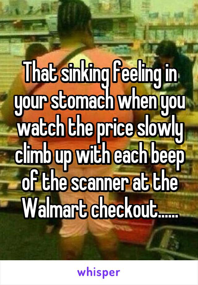 That sinking feeling in your stomach when you watch the price slowly climb up with each beep of the scanner at the Walmart checkout......