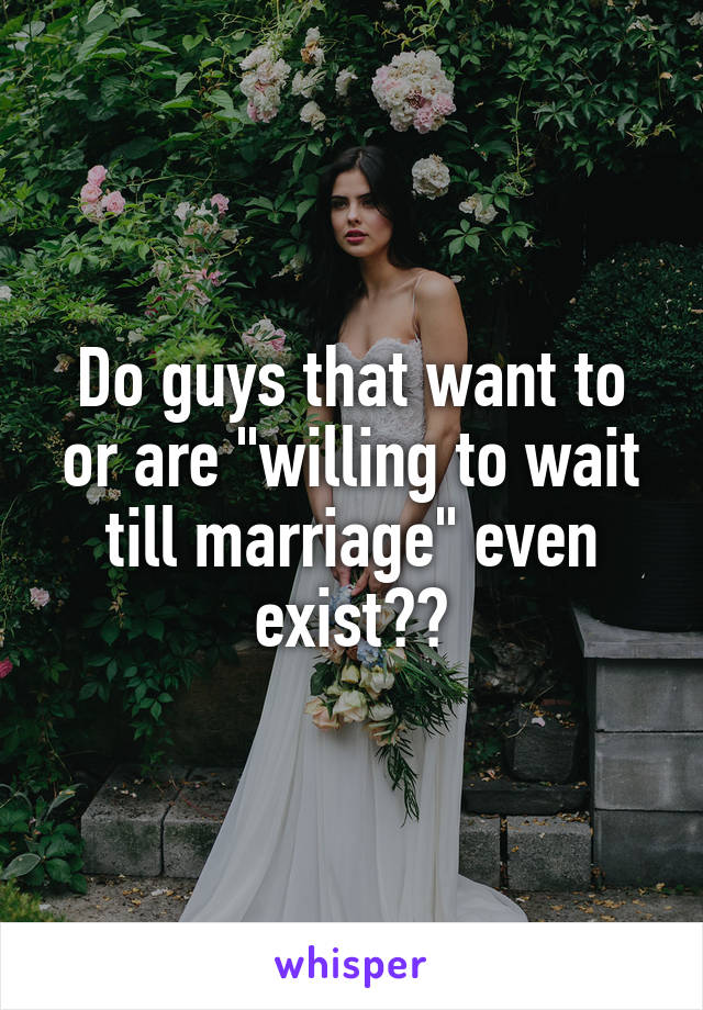 """Do guys that want to or are """"willing to wait till marriage"""" even exist??"""