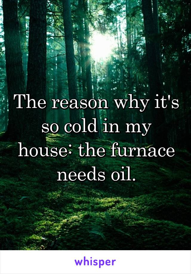 The reason why it's so cold in my house: the furnace needs oil.