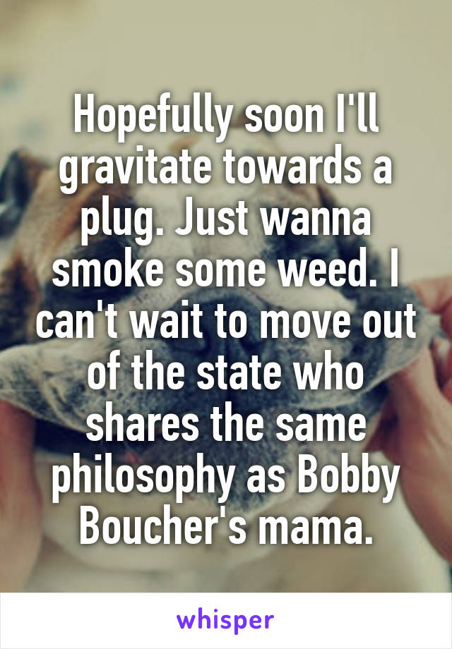 Hopefully soon I'll gravitate towards a plug. Just wanna smoke some weed. I can't wait to move out of the state who shares the same philosophy as Bobby Boucher's mama.