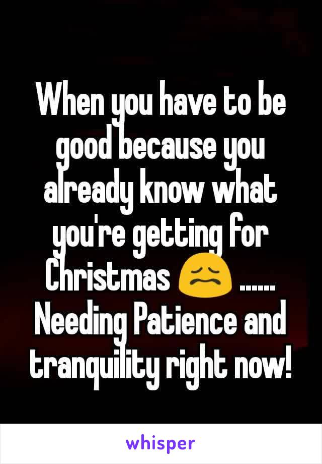 When you have to be good because you already know what you're getting for Christmas 😖 ...... Needing Patience and tranquility right now!