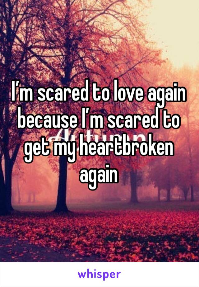 I'm scared to love again because I'm scared to get my heartbroken again
