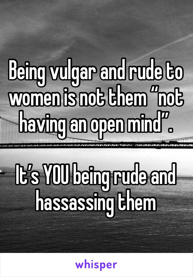 """Being vulgar and rude to women is not them """"not having an open mind"""".   It's YOU being rude and hassassing them"""