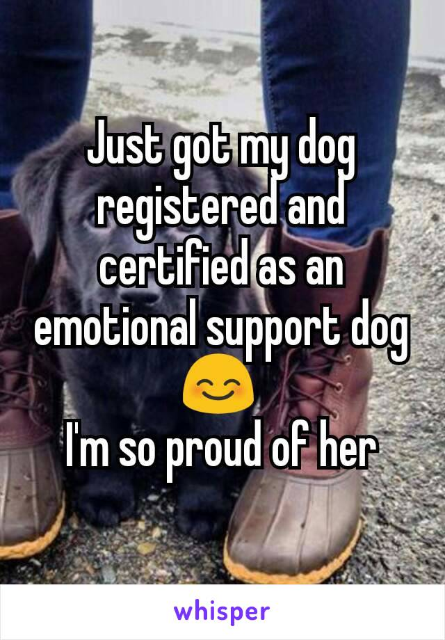 Just got my dog registered and certified as an emotional support dog 😊  I'm so proud of her