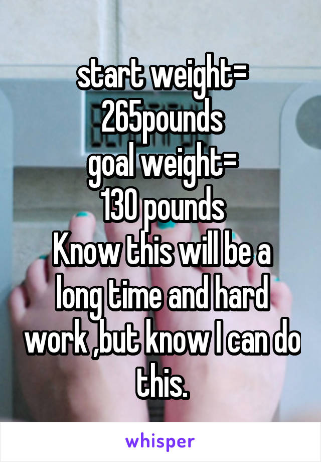 start weight= 265pounds goal weight= 130 pounds Know this will be a long time and hard work ,but know I can do this.