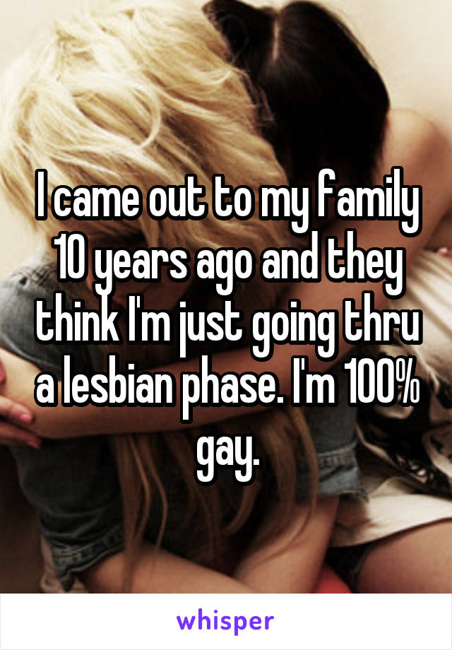 I came out to my family 10 years ago and they think I'm just going thru a lesbian phase. I'm 100% gay.