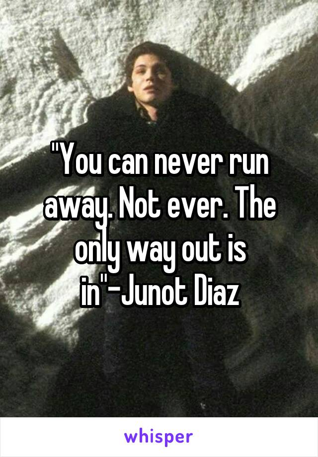 """""""You can never run away. Not ever. The only way out is in""""-Junot Diaz"""