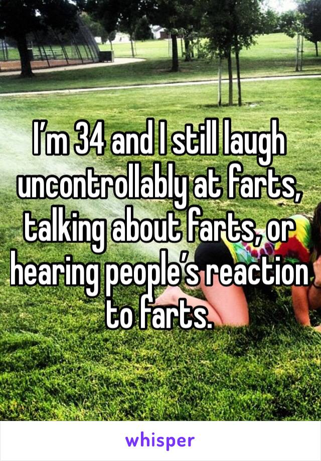 I'm 34 and I still laugh uncontrollably at farts, talking about farts, or hearing people's reaction to farts.