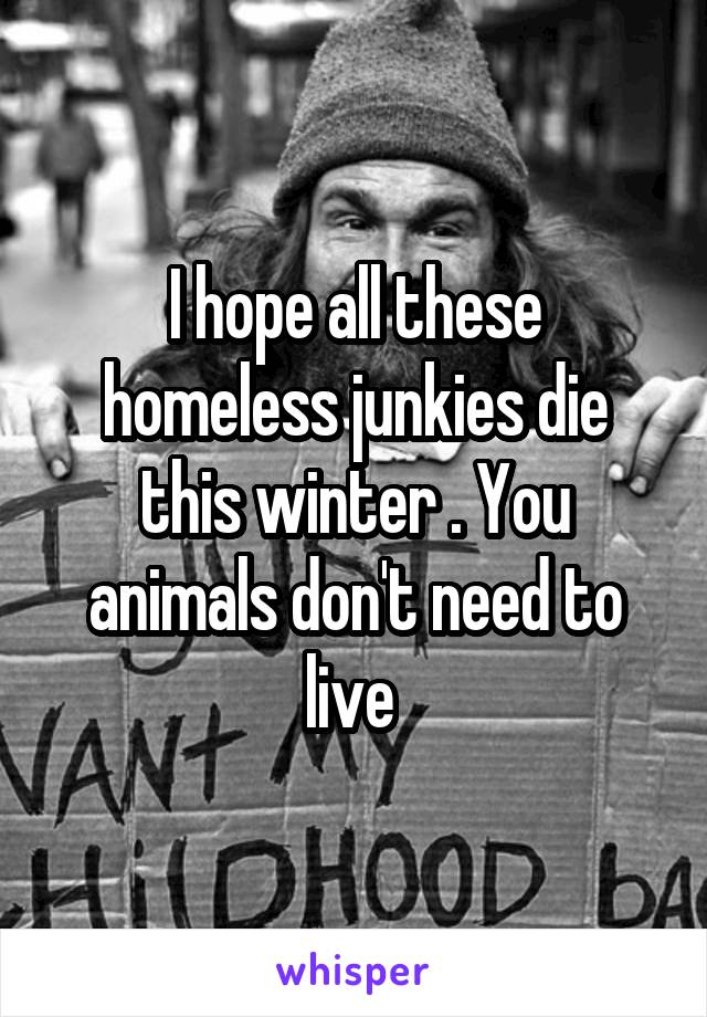 I hope all these homeless junkies die this winter . You animals don't need to live