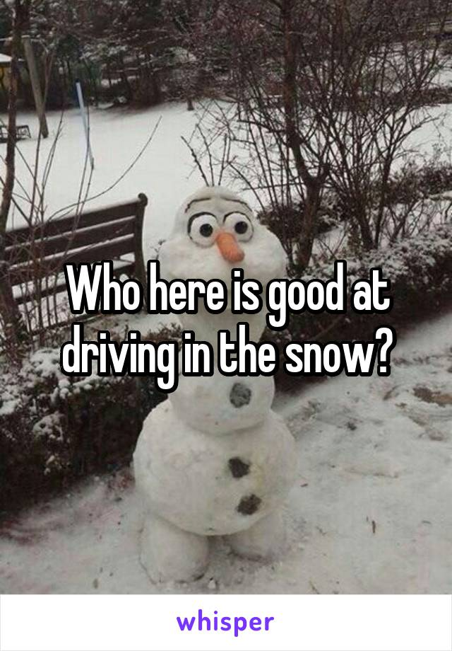Who here is good at driving in the snow?