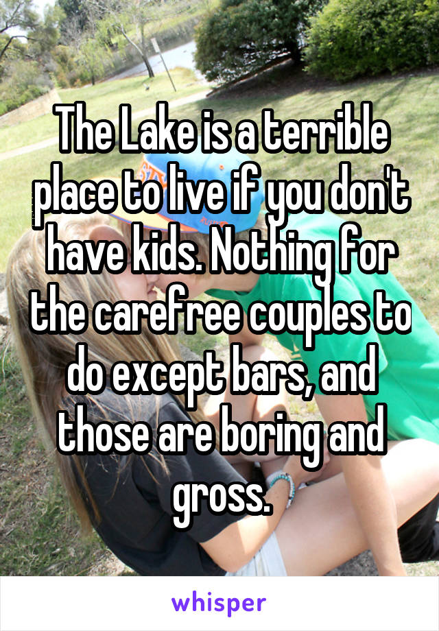 The Lake is a terrible place to live if you don't have kids. Nothing for the carefree couples to do except bars, and those are boring and gross.