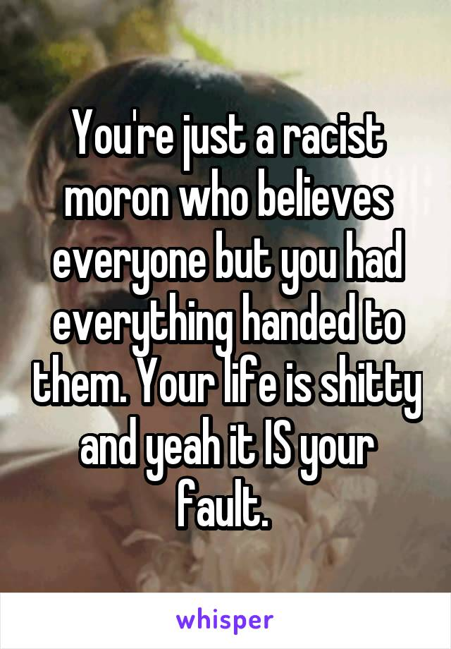 You're just a racist moron who believes everyone but you had everything handed to them. Your life is shitty and yeah it IS your fault.